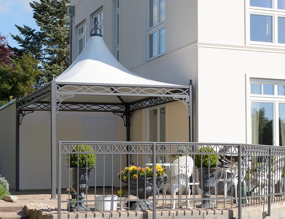 exklusiver pavillon 3x3 auf einer terrasse. Black Bedroom Furniture Sets. Home Design Ideas