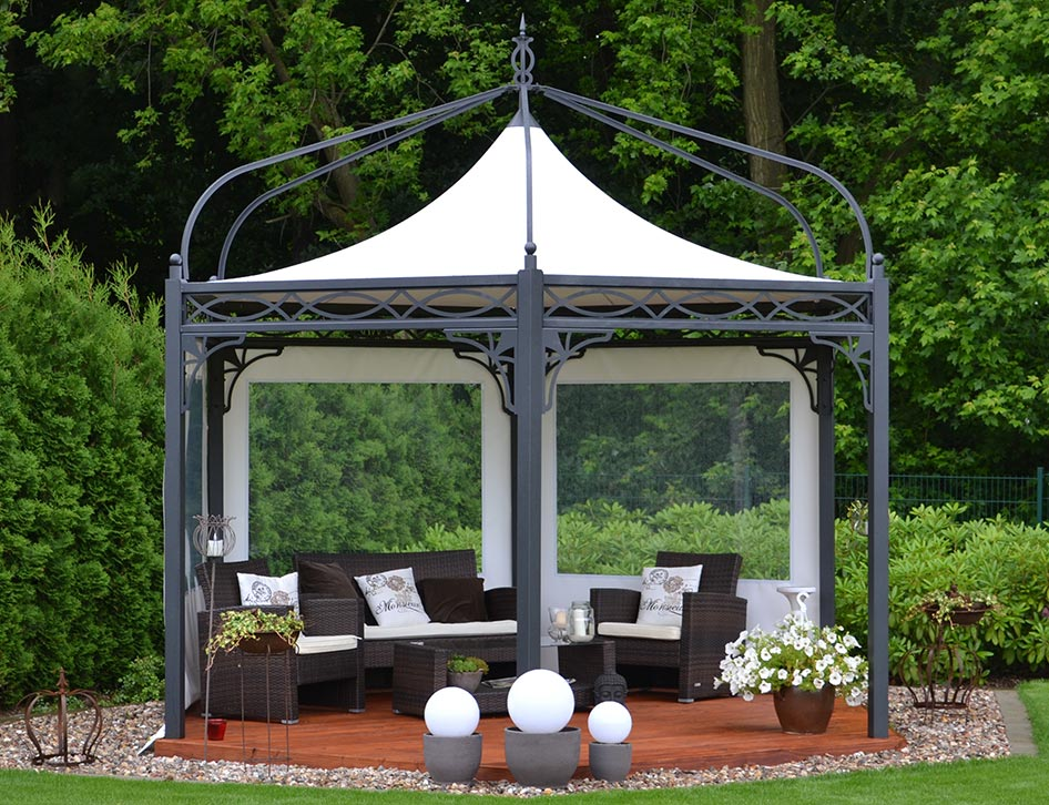 metall pavillon antica roma sechseckig mein gartenpavillon. Black Bedroom Furniture Sets. Home Design Ideas